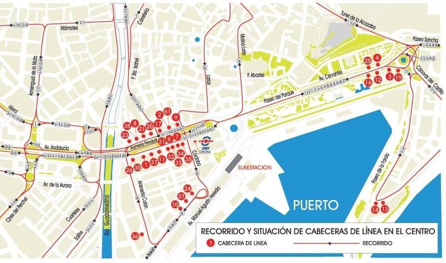 Plano del urbano de Málaga