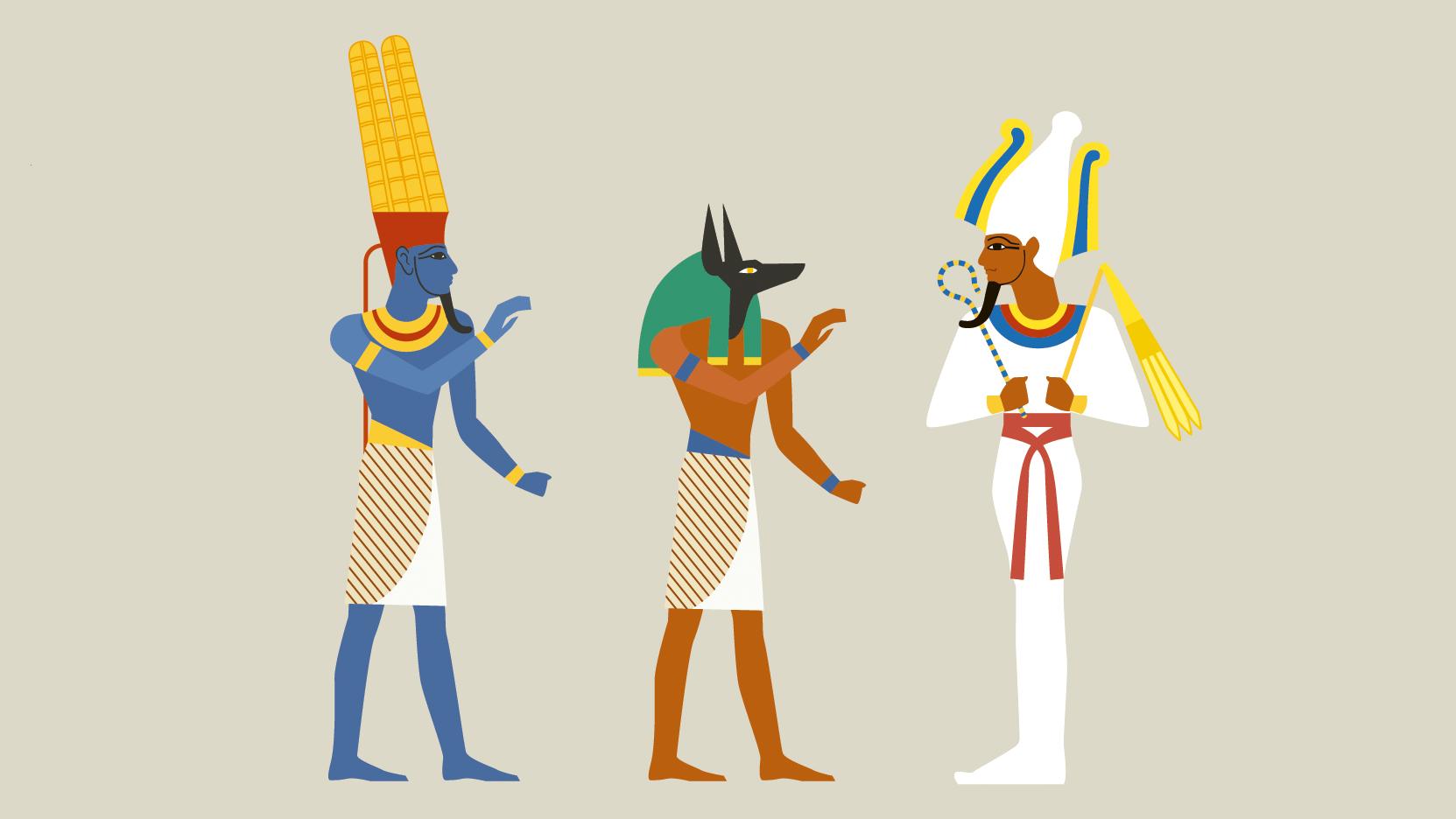 Representación De Los Dioses Egipcios Amón Anubis Y Osiris