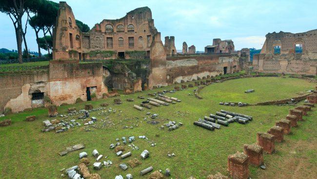Restos del Hipódromo, en la colina del Palatino, Roma