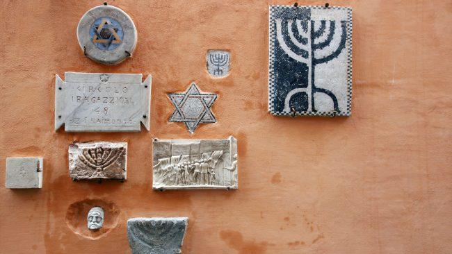 Símbolos en el barrio judío de Roma