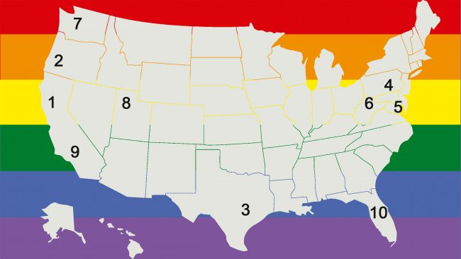 Mapa de las 10 ciudades más gay-friendly de EEUU
