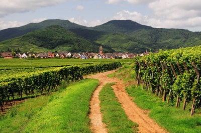 Turismo rural en Francia camino y casas al fondo