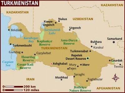 Mapa de Turkmenistan
