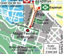 Ubicación de la La Fuente Mágica de Montjuic
