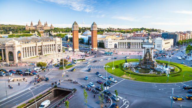 Vista aérea de la Plaza de España, Barcelona
