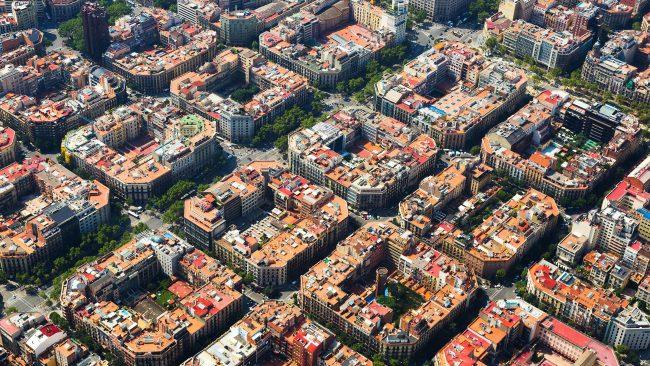 バルセロナのエンサンチェ地区の航空写真
