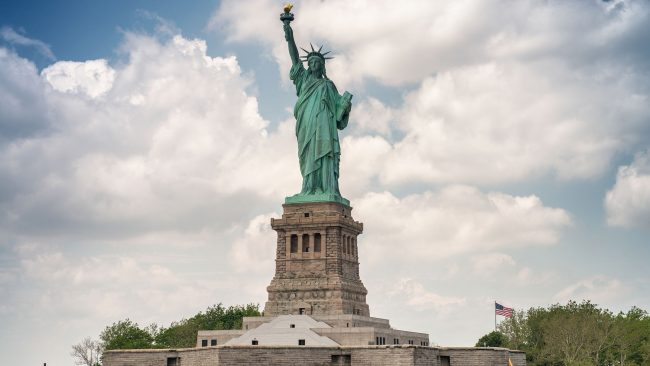 Vistas da Estatua da Liberdade desde o transbordador de Staten Island